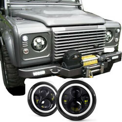 Pair Led Black Headlights Rhd E Marked 7 H4 Fit For Land Rover Defender 90 110