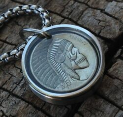 Hobo Nickel Necklace with 26quot; Stainless Steel Chain $19.99