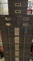 Vintage 5x 6 Drawer C And E And 3 X 2 Drawer Jewelers Cabinet Full Of Parts