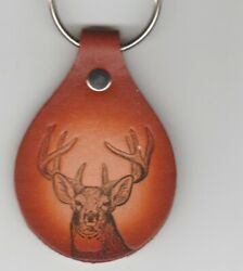 WHITETAIL DEER LEATHER KEYCHAIN-FREE SHIPPING-