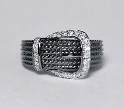 Amazing Round Cut Cubic Zirconia With Black Rhodium 925 Real Silver Buckle Ring