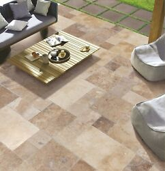 Volcano Antique Pattern Travertine Tile Brushed, Chiseled, And Partially Filled