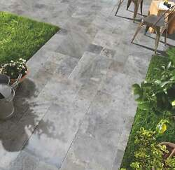 Silver Antique Pattern Travertine Tile - Brushed Chiseled And Partially Filled