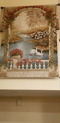 Vintage french wall tapestry hanging 53quot;×74quot; Couple Swans.