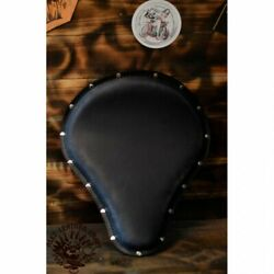 Bobber Chopper Custom Leather Solo Seat Vintage Black With Silver Rivets