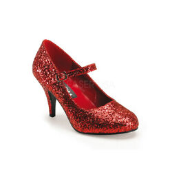Funtasma GLINDA-50G Women's Red Glitter High Heels Pointed Toe Mary Janes Pumps