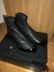 Nib Black Leather Booties With Zip Up Details Short Boots/booties 39.5