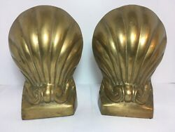 """Vintage Heavy Brass Clam Scalloped Sea Shell Bookends 7.25"""" Beach Home Office"""