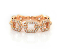 Gabriel And Co Rose Band And 0.37 Ctw Diamond Link Ring In 14k, New