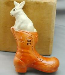 Exceptional Antique Figural Celluloid Rattle Rabbit In Boot Usa