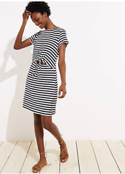 Loft Beach Striped Black amp; White Tie Cutout Tee Dress Size: XL 69.50 $31.99