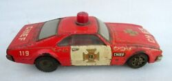 Vintage Old Battery Operate Fire Department Chief Car Llitho Tin Toy Taiyo Japan