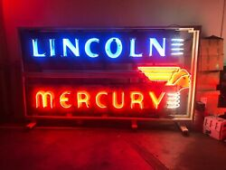 Original Double Sided Lincoln Mercury Ford Dealership Neon Sign
