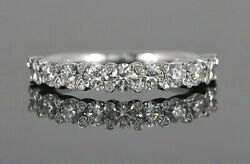 A. Jaffe 14k White Gold Diamond Euro Shank Tipped Shared Prong Wedding Band Ring