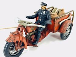 Large Hubley Indian Vintage Cast Iron Crash Car Motorcycle With All Accessories