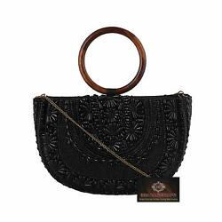 Black Handbags Partywear Sling Bag Women Pearl Stone Lotus Shimar Fabric $62.00