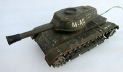 Vintage Rare Toy Mt Trademark Battery Operated M40 War Tank Litho Tin Toy Japan