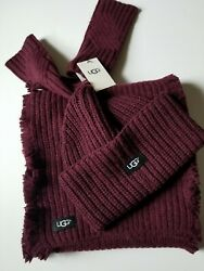 Ugg Maroon Classic Hat Armwarmer and Scarf Gift Set