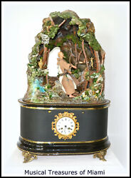 FANTASTIC ANTIQUE FRENCH MUSICAL CLOCK AUTOMATON MUSIC BOX - SHIPS WORLDWIDE