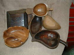 7 Assorted Hand Carved Wooden Hors D' Oeuvres And Nut Bowls Jamaica West Indies