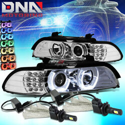 Chrome 3d Rgb Color Halo Headlight+6000k White Led System Fit 96-03 E39 5-series