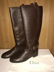 New Christian Dior Sz. 39 Leather Knee High Tall Boots Brown 1500