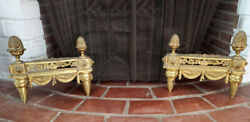 A Great Pair Of Antique Gilt Bronze Fireplace Andirons