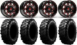 Fuel Lethal Red 15 Wheels 29 Carnivore Tires Polaris Rzr Turbo S / Rs1