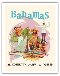 Bahamas Delta Air Lines - Fred Sweney Vintage Airline Travel Poster Art Print