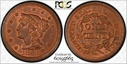 1854 Newcomb 2 1c Pcgs Ms64rb Pcgs Trueview 1 Large Cent One Penny Cents 🔥