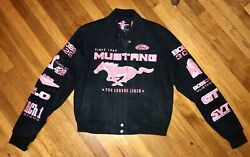 WOMENS JH DESIGN FORD MUSTANG RACING JACKET LARGE BLACK PINK EMBROIDERED PATCHES