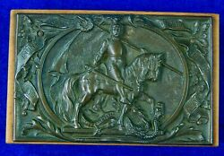 Antique Old German Germany Ww1 Military Motif Metal Plaque W/ Wood Base