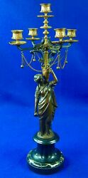 Antique Old France French Bronze Woman Figurine Chandelier Candle Holder Decor
