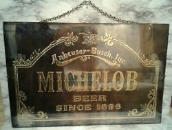 Vntg Anheuser-busch Michelobe Beer Gold Foil 3d Wall Mirror Sign Picture 24x16