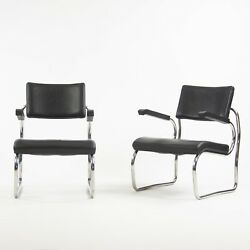 Pair Santand039elia Arm Chairs By Giuseppe Terragni For Zanotta Leather Stainless