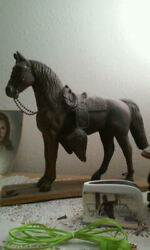 Old Vintage Metal Horse Statue ''old Clasps To Hold Legs Down'' Maybe 1800s