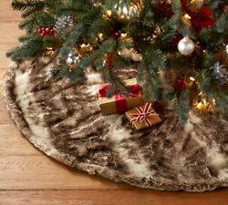 Pottery Barn Faux Fur Tree Skirt Caramel Ombre 60 Round