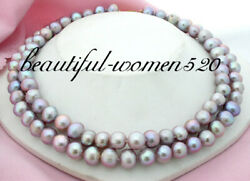 2row 11mm Round Purple Freshwater Pearl Necklace 9k Clasp