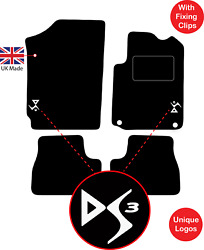 Citroen Ds3 2009 To 2018 Tailored Carpet Car Floor Mats With Logo And Fixing Clips