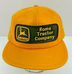 Vtg John Deere Patch Snapback Trucker Hat Cap Rome Tractor Company Made In Usa