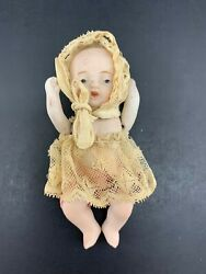 4quot; Vintage Bisque Baby Painted Unmarked Lace bonnet jointed