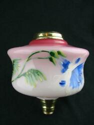 Antique Pink Oil Lamp Font With Enamelled Foliate Decoration, Screw Fit Collar
