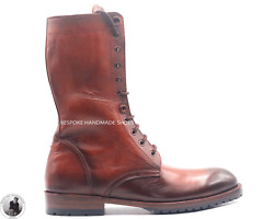 Handmade Menand039s Genuine Brown Leather Lace Up Derby Ankle Marching Military Boots