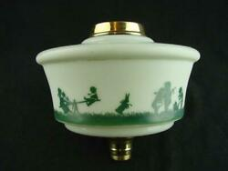 Rare Antique Pale Green Glass Oil Lamp Font Children Playing In Silhouette Decor