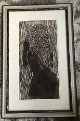 Mother Nature C.allred Female Nude Original A/p Woodcut Relief Print Art Framed