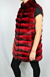 New Fire Red Chinchilla Fur Vest With Stand Collar Exclusive Color All Sizes