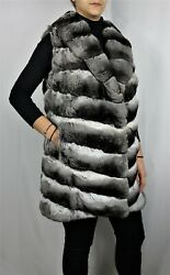 New Chinchilla Fur V Style Vest With Huge Round Collar Top Quality All Sizes