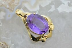 14k Yellow Gold 23ct Amethyst Pendant Pearl Enhancer With Locking Clasp