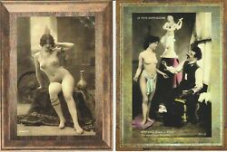 French Nude Woman Naked Real Photo Postcard Reprint Copy 2 Postcards