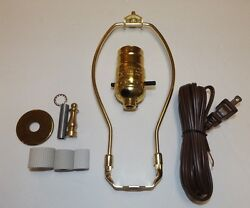 Jug Or Bottle Lamp Adaptor Kit With 8 Harp And Brass Finial New 30340jb